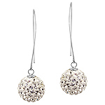 Sterling Silver and Clear Crystal Glass 14mm Disco Ball Dangle Earrings