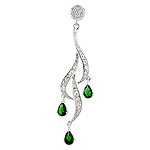 Sterling Silver and Pear Shaped Green Cubic Zirconia Cascading Curls Pendant
