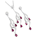 Sterling Silver and Pear Shaped Red Cubic Zirconia Cascading Curls Pendant and Earrings Set