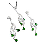 Sterling Silver and Pear Shaped Green Cubic Zirconia Cascading Curls Pendant and Earrings Set