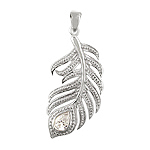Sterling Silver and Pear Shaped White Cubic Zirconia Cut-Out Feather Pendant