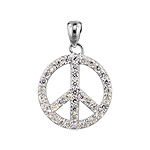 Sterling Silver and Pave Cubic Zirconia Peace Sign Pendant