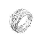 Sterling Silver Cut Out Feathers Ring