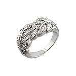 Sterling Silver and Clear Pave Cubic Zirconia Laurel Branch Ring