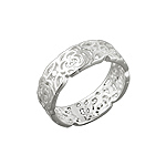 Sterling Silver Filigree Roses Band Ring