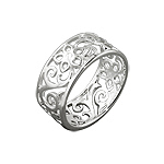 Sterling Silver Filigree Flowers and Vines Band Ring