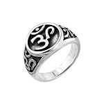 Sterling Silver Yoga Om Symbol Ring