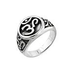 Sterling Silver Yoga Om Symbol Ring
