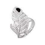Sterling Silver and Black Pear Shaped Cubic Zirconia Cut Out Feather Ring
