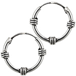 Sterling Silver 12mm Three Spirals Bali Style Hollow Tube Hoop Earrings