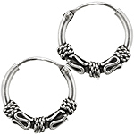 Sterling Silver 12mm Waves and Spirals Bali Style Hollow Tube Hoop Earrings