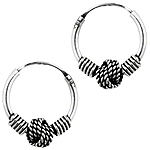 Sterling Silver 12mm Rope Knot Bali Style Hollow Tube Hoop Earrings