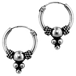 Sterling Silver 11mm Bead Dangle Bali Style Hollow Tube Hoop Earrings