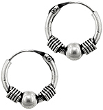 Sterling Silver 12mm Coil and Bead Bali Style Hollow Tube Hoop Earrings