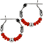 Sterling Silver 15mm Bali Style Hoop Earrings with Red Seed Beads