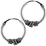 Sterling Silver 15mm Ribbed Coil and Rope Spiral Bali Style Hollow Tube Hoop Earrings
