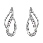 Sterling Silver Double Loop Stud Earrings with White Cubic Zirconia