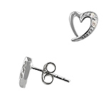 Sterling Silver Tiffany Inspired Open Heart Miniature Stud Earrings with White Cubic Zirconia