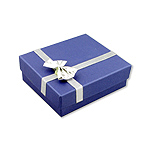 Blue Pendant and Chain or Large Earrings Box with Silver Bow (Jewelry Not Included)