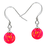 Sterling Silver and Created Opal Pink 8mm Bead Dangle Earrings