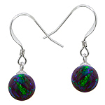 Sterling Silver and Created Opal Blue-Green 8mm Bead Dangle Earrings