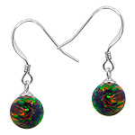 Sterling Silver and Created Opal Rainbow 8mm Bead Dangle Earrings