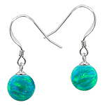 Sterling Silver and Created Opal Green 8mm Bead Dangle Earrings