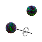 Sterling Silver and Created Opal Blue-Green 8mm Bead Stud Earrings