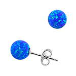 Sterling Silver and Created Opal Blue 8mm Bead Stud Earrings