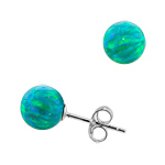 Sterling Silver and Created Opal Green 8mm Bead Stud Earrings