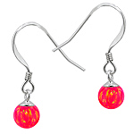 Sterling Silver and Created Opal Pink 6mm Bead Dangle Earrings