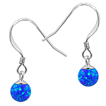 Sterling Silver and Created Opal Blue 6mm Bead Dangle Earrings