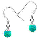 Sterling Silver and Created Opal Green 6mm Bead Dangle Earrings