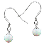 Sterling Silver and Created Opal White 6mm Bead Dangle Earrings