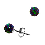 Sterling Silver and Created Opal Blue-Green 6mm Bead Stud Earrings