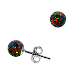 Sterling Silver and Created Opal Rainbow 6mm Bead Stud Earrings