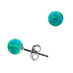 Sterling Silver and Created Opal Green 6mm Bead Stud Earrings