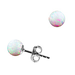 Sterling Silver and Created Opal White 6mm Bead Stud Earrings
