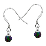 Sterling Silver and Created Opal Blue-Green 5mm Bead Dangle Earrings
