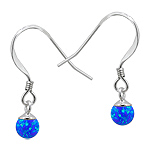 Sterling Silver and Created Opal Blue 5mm Bead Dangle Earrings