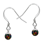 Sterling Silver and Created Opal Rainbow 5mm Bead Dangle Earrings