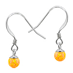 Sterling Silver and Created Opal Yellow 5mm Bead Dangle Earrings