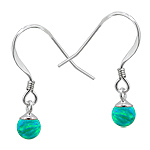 Sterling Silver and Created Opal Green 5mm Bead Dangle Earrings