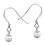 Sterling Silver and Created Opal White 5mm Bead Dangle Earrings