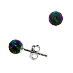 Sterling Silver and Created Opal Blue-Green 5mm Bead Stud Earrings