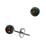 Sterling Silver and Created Opal Rainbow 5mm Bead Stud Earrings