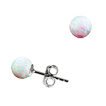 Sterling Silver and Created Opal White 5mm Bead Stud Earrings