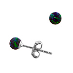 Sterling Silver and Created Opal Blue-Green 4mm Bead Stud Earrings