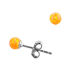 Sterling Silver and Created Opal Yellow 4mm Bead Stud Earrings