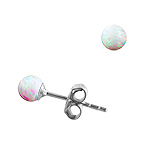 Sterling Silver and Created Opal White 4mm Bead Stud Earrings